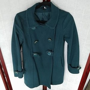H&M Forest green knee-length pea coat. Size 6